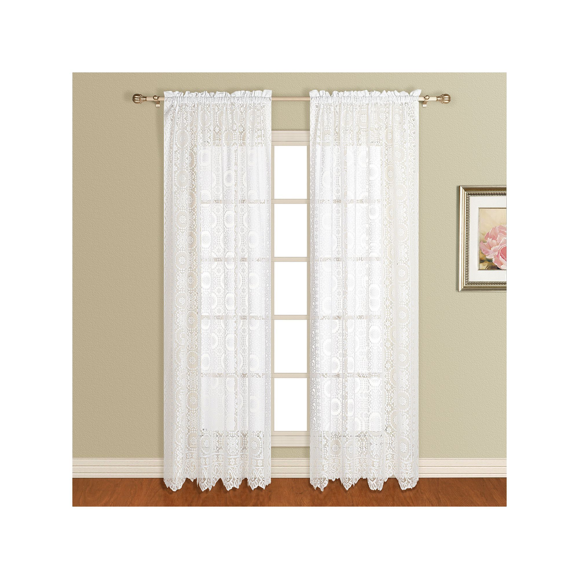 United Curtain Co 1 Panel Rochelle Lace Window Panel White