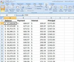 credit card spreadsheet