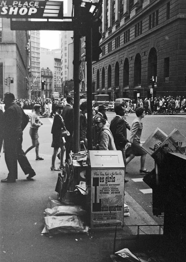 Castlereagh Street, Sydney, 1970. Les Girls ad on garbage bin near Martin Place
