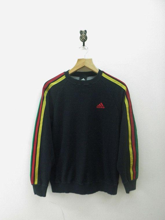 095c7d013d76 Vintage 90 s Adidas Rasta Adicolor Sweatshirt Hip Hop Pullover Sport ...