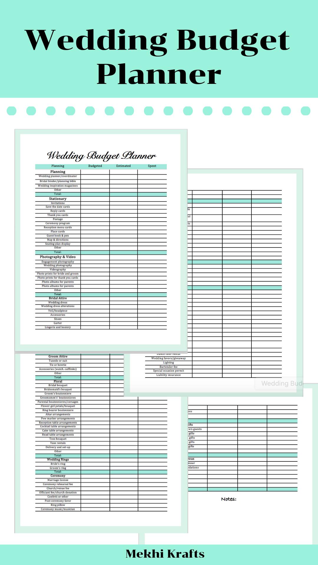 Wedding Budget Planner Printable Instant Download Etsy Wedding Budget Planner Budget Wedding Wedding Budget Planner Printable