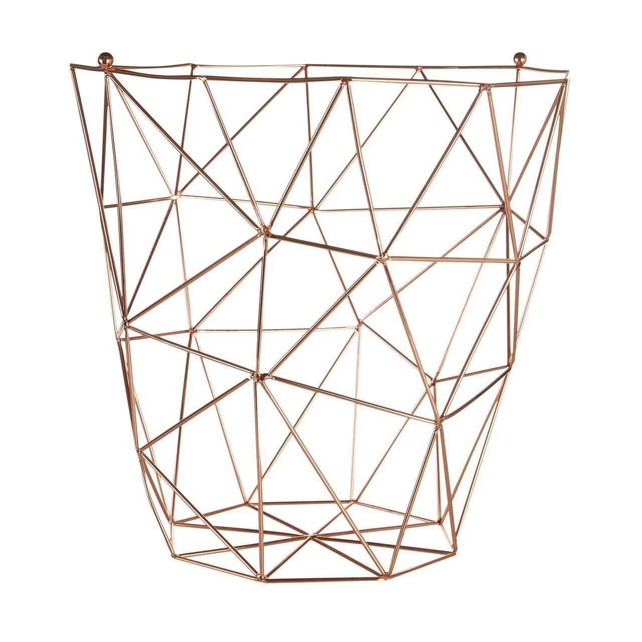 Copper storage basket waste bin in wire mesh vintage style magazine ...