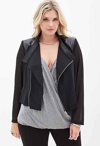 f8c5bed39122b Faux Leather   Chiffon Moto Jacket