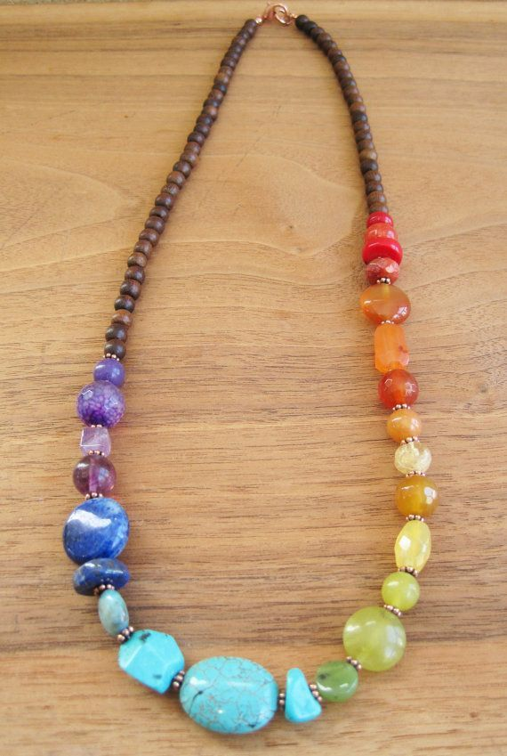 Multicolor necklace Green and purple necklace Gemstones necklace Multi gemstones necklace Boho Necklace Gemstones boho necklace