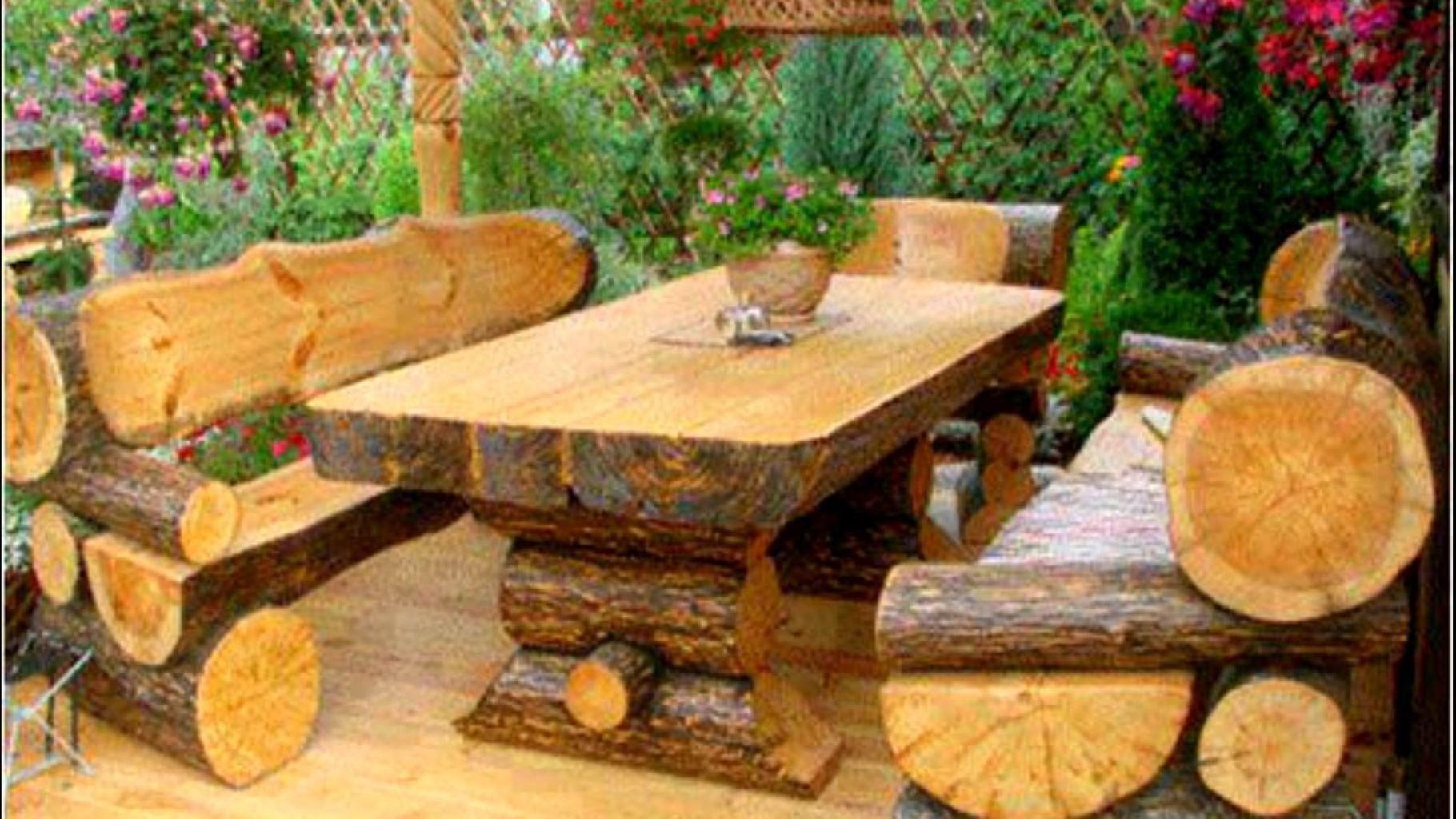 Beautiful rustic wood outdoor patio furniture design 13