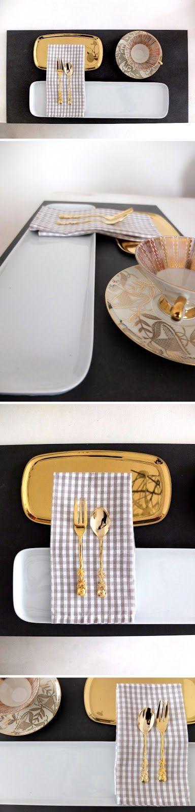 Minza will sommer gedeckter tisch schieferplatte und decken Besteck decken