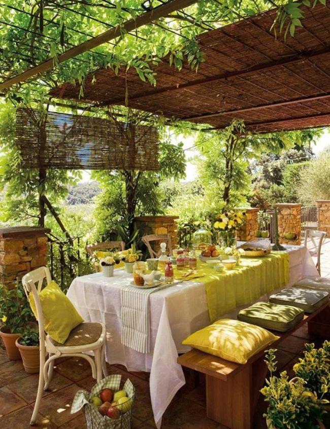 Terrasse Gestalten 2015 Pergola Sichtschutz Bambusmatten Home