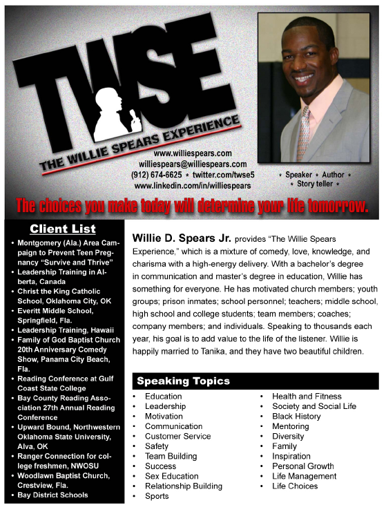 The Willie Spears Experience    Speaker   One Sheet Template Word