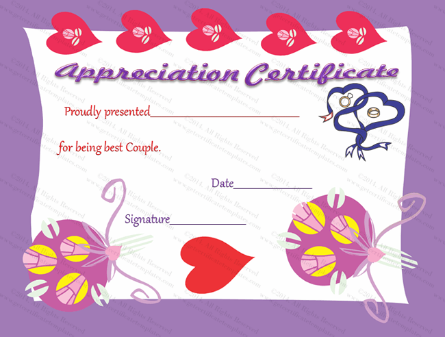 True Love Certificate Of Appreciation Template  Certificate Of