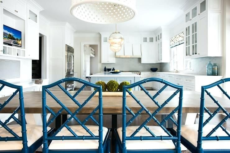 Iron And Wood Dining Table With Blue Bamboo Chairs On White