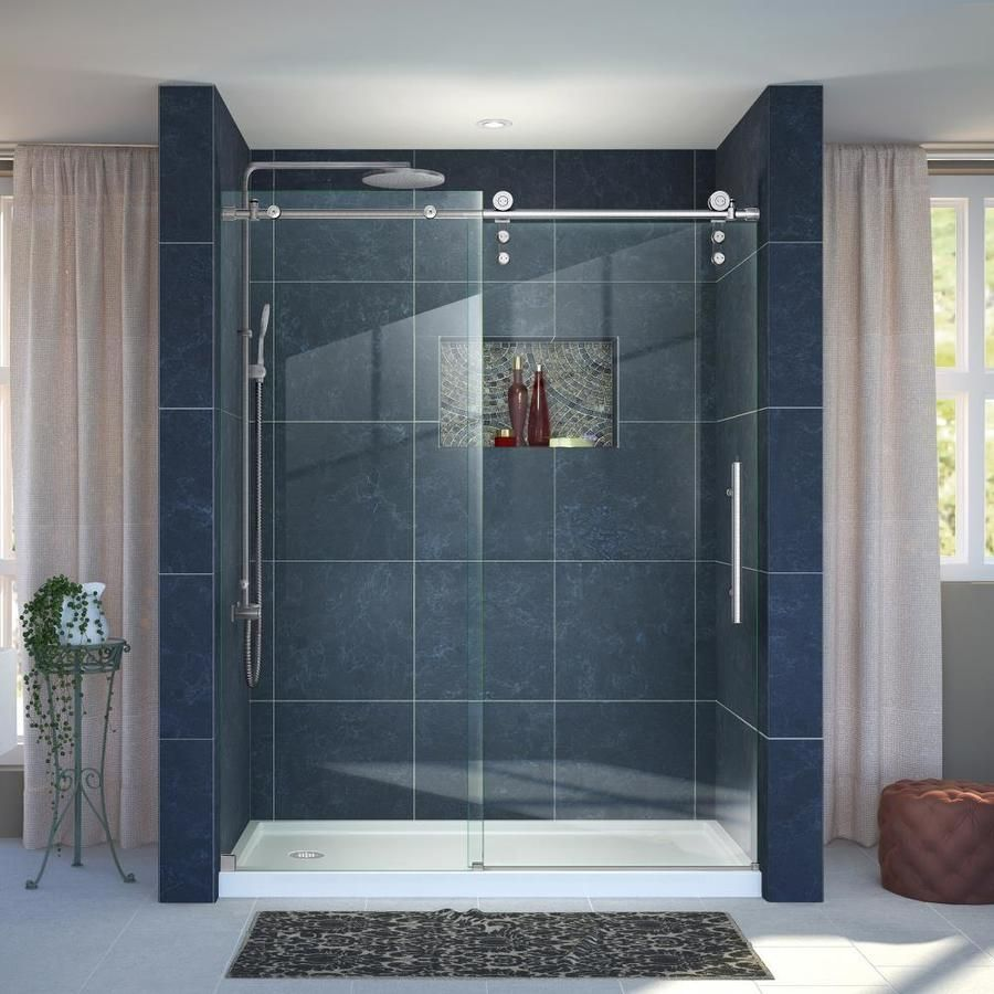 Dreamline Enigma Z Brushed Stainless Steel 2 Piece Alcove Shower Kit Common 36 In X Sliding Shower Door Frameless Sliding Shower Doors Frameless Shower Doors