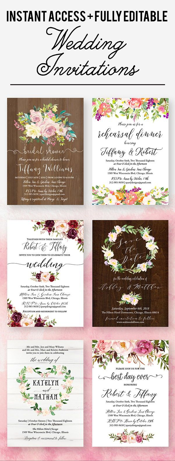 Wedding decorations rustic october 2018 Rustic boho and fall floral wedding invitations Perfect for a DIY