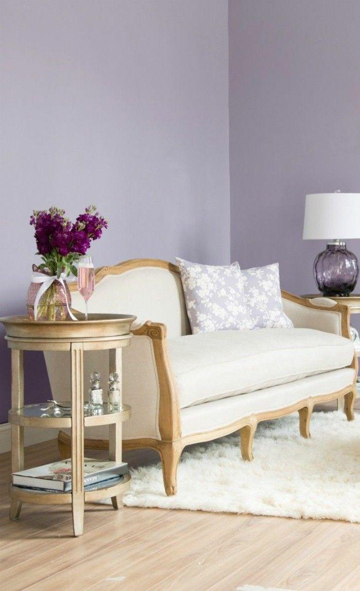Die Farbe Lila Wohnzimmer Lavendel Wandfarbe Helle Einrichtung
