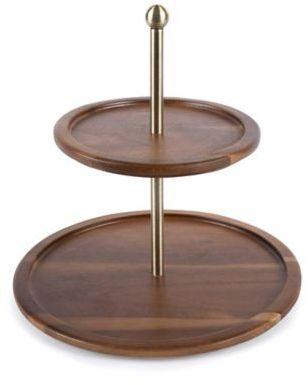 Core Bamboo Acacia Wood 2 Tier Serving Platter Wood Acacia Wood Handmade Wooden
