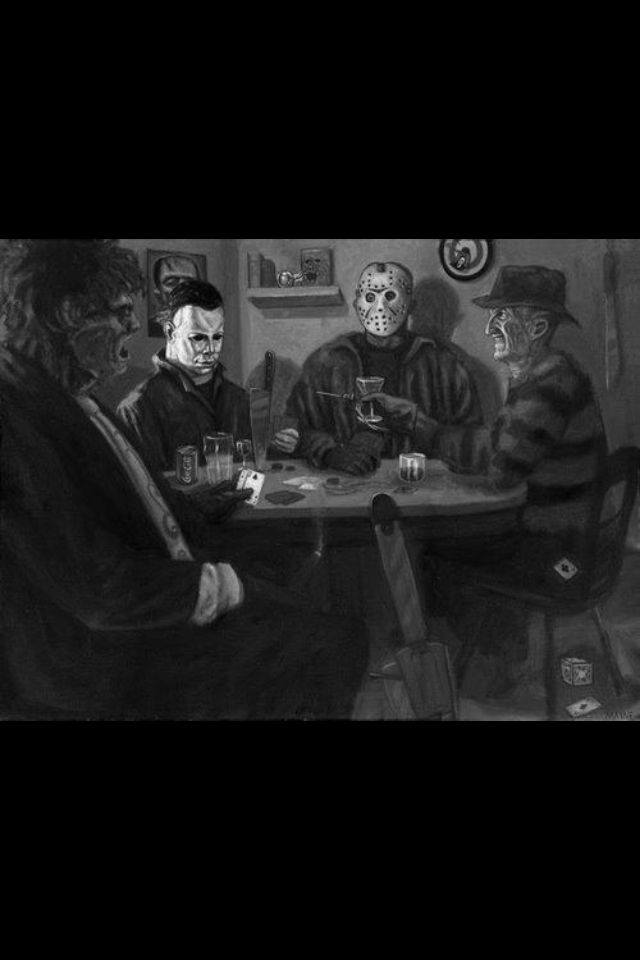 Freddy, Michael, Jason, and Leatherface playing cards