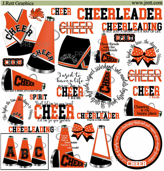 Cheerleader orange. Clip art more colors
