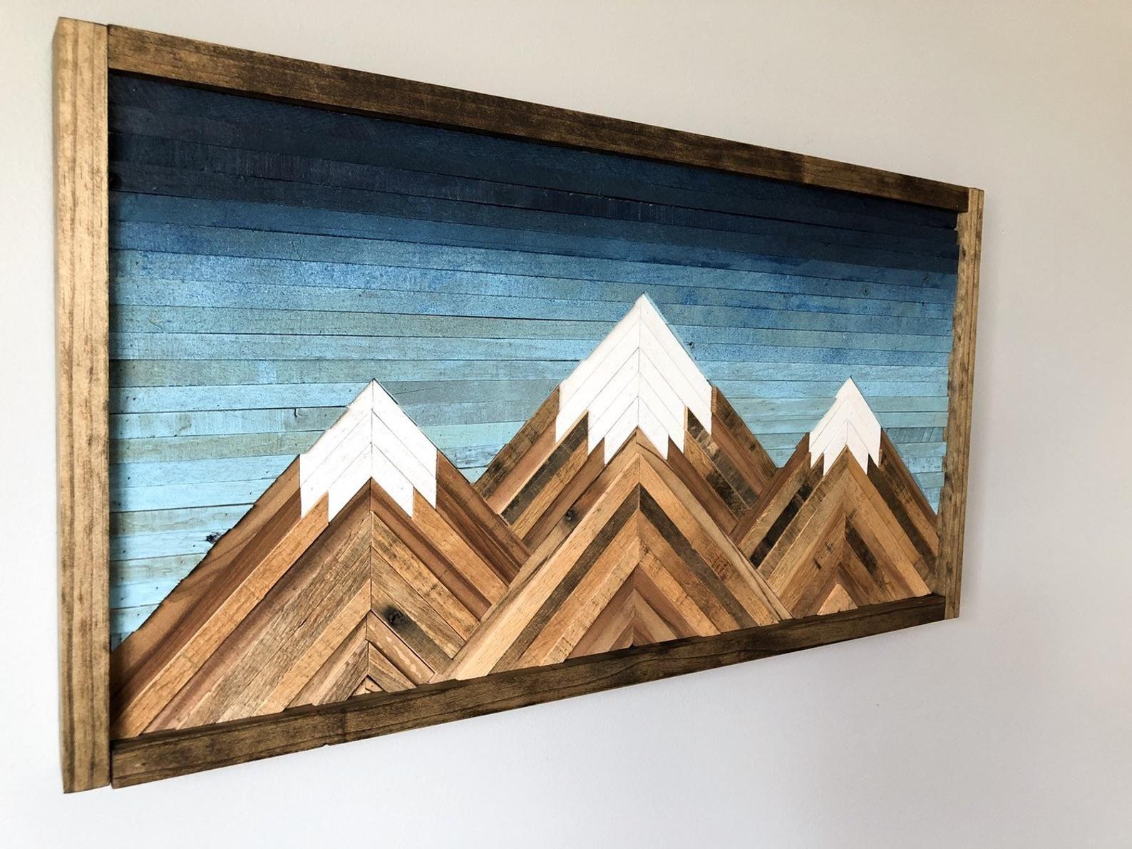 Mountain wood wall artdecor mountain wood wall art