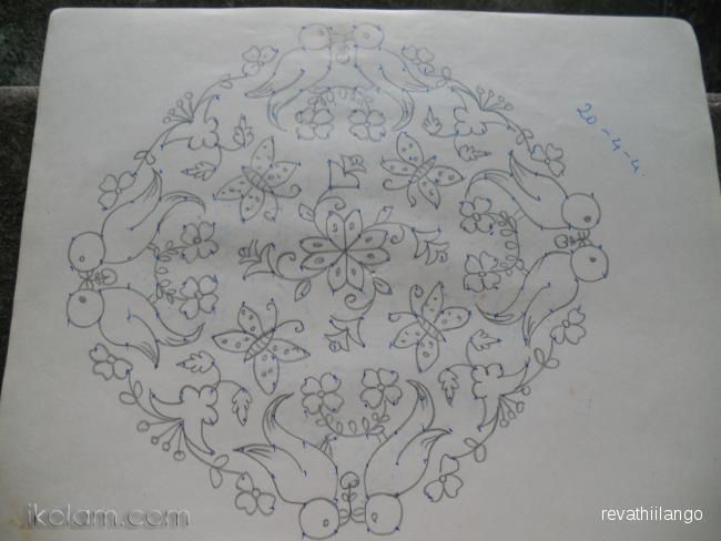 Drawing With Lines And Dots : Rangoli paper rangoli. parrot kolam. 20 dots 4 lines end with