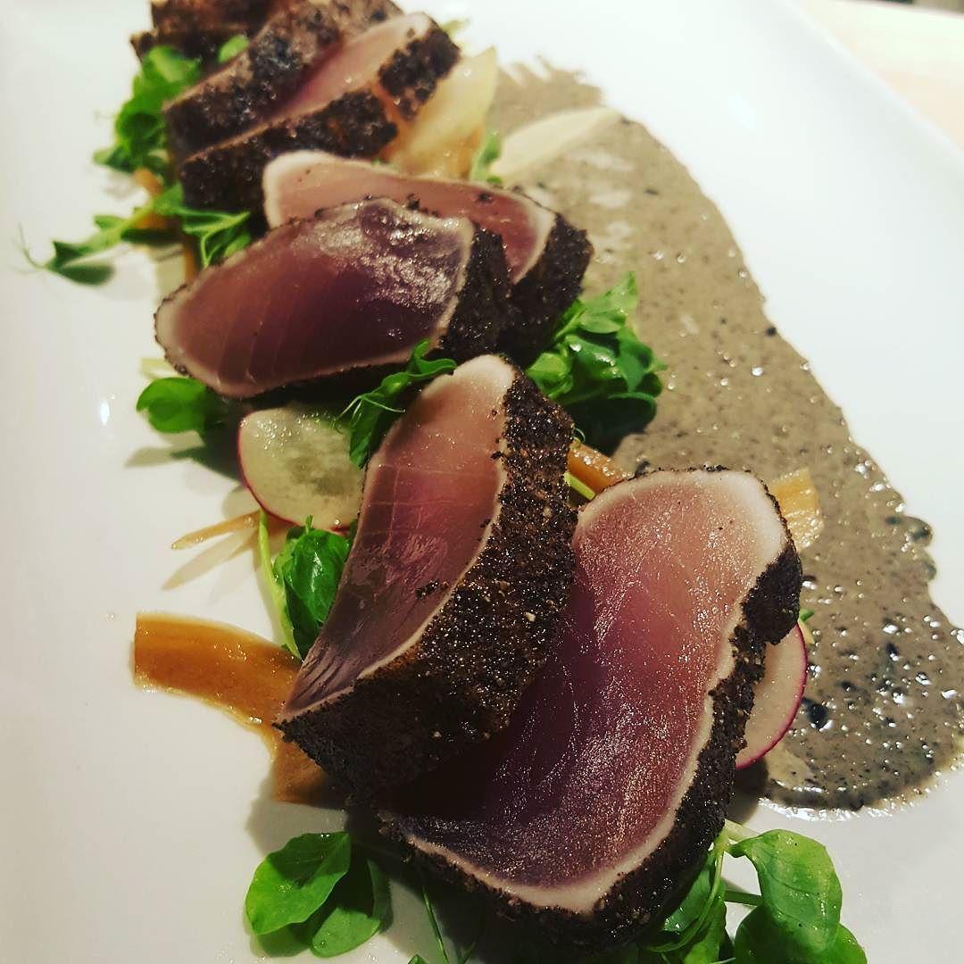 Seared Albacore Tuna Tataki with Nori Aioli Ponzu Jalapeño and Radish. #tuna #tataki #yyj by north_48