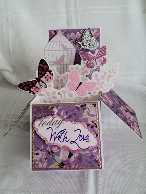 My version of a card in a box... this card  in a box folds flat and fits into a 160 x 160 envelope made with the violet crush collection....
