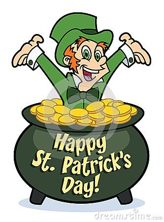 A happy cartoon leprechaun in a pot of gold