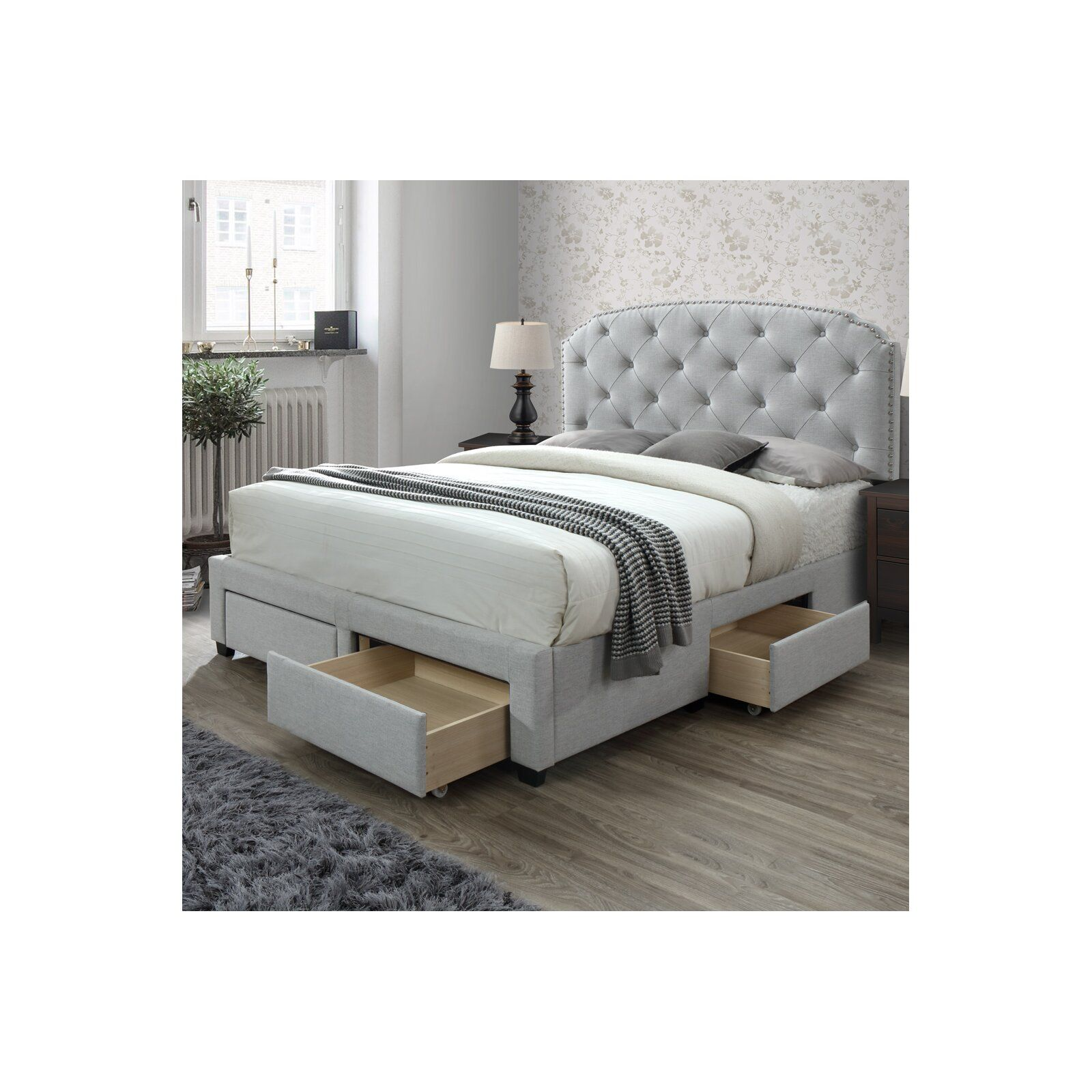 Abbingt Upholstered Storage Panel Bed Upholstered Panel Bed Under Bed Drawers Bed Frame With Storage