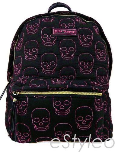 BETSEY JOHNSON Skull Print BACKPACK Diaper bag Shoulderbag Black Pink NWT 9e0f835c9a3de