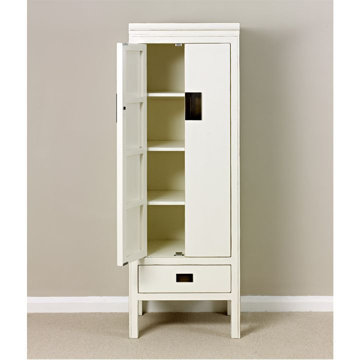 White Lacquer Slim Storage Cabinet, Oriental Style #Chinese #WhiteFurniture