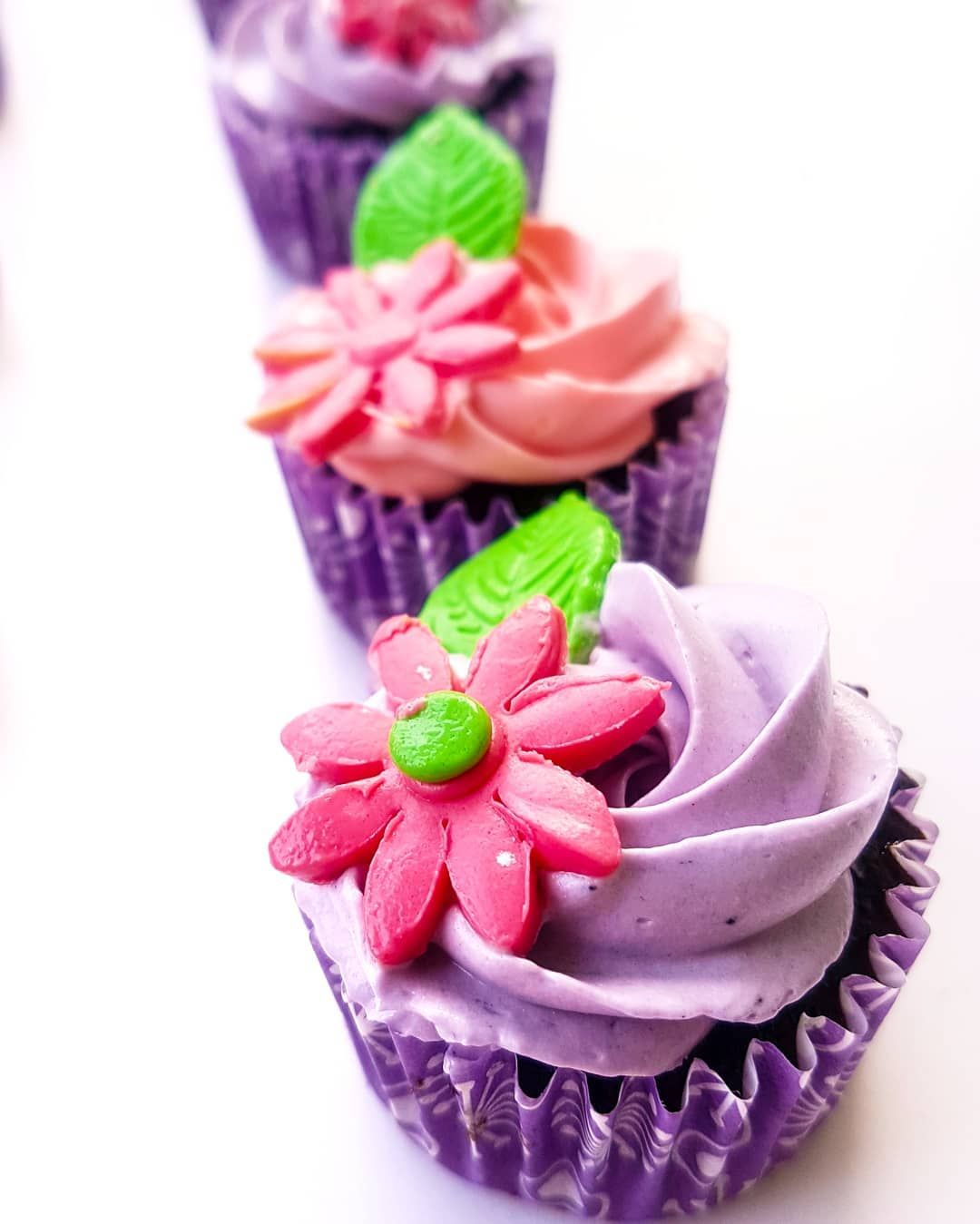 In love with these colours 😍💜 Mini chocolate fudge cupcakes  Price - 600 bdt ( 12 cupcakes ) . .