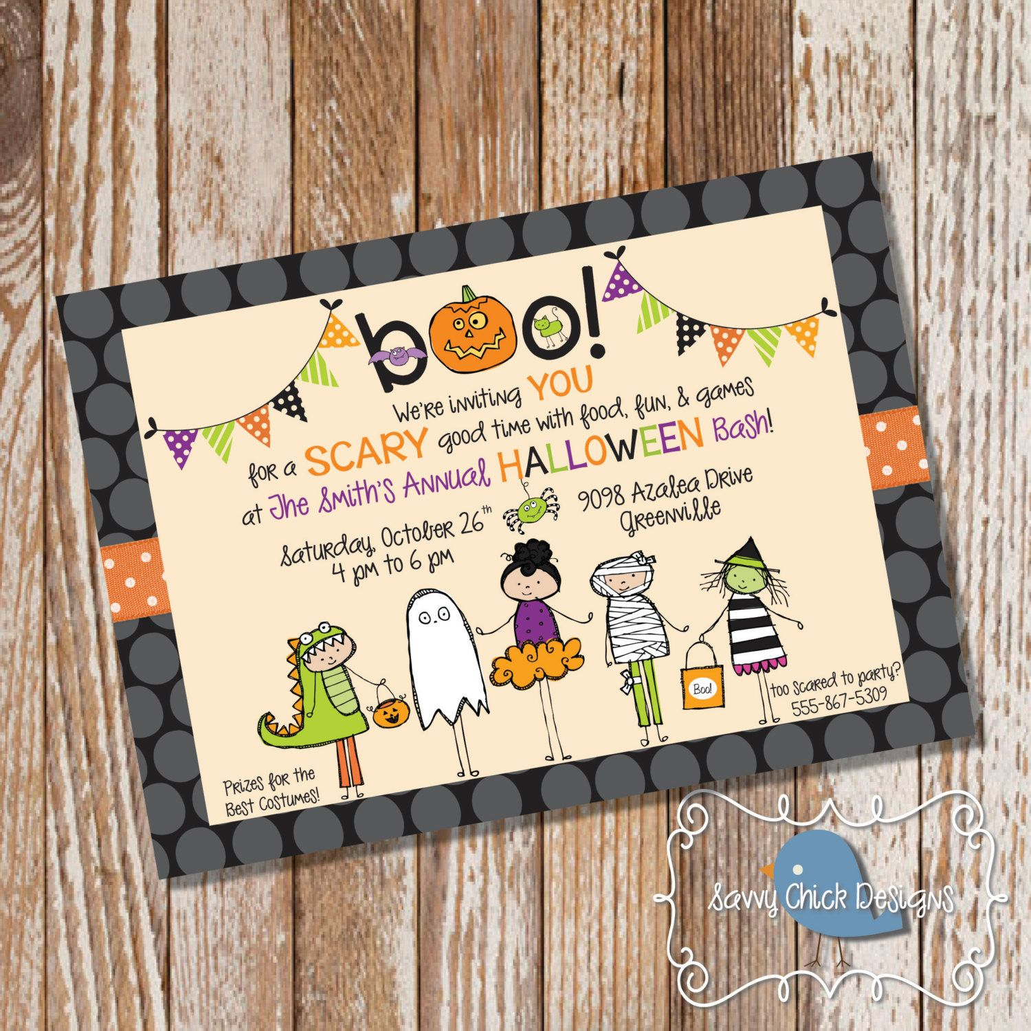 DIY Halloween Party Invitations Cute Costume Party | Halloween ...