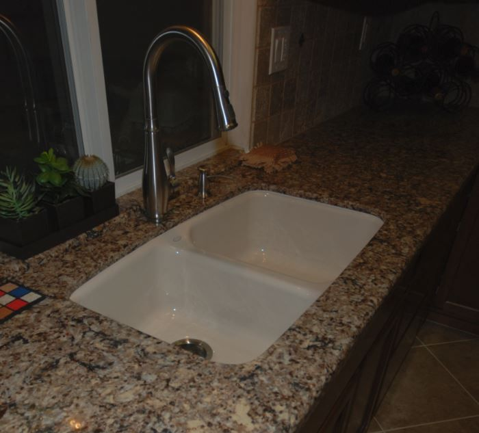 Kohler Cruett In Vibrant Stainless With Kohler Brookfield Sink In Almond In  Cambria Canterbury Countertops.
