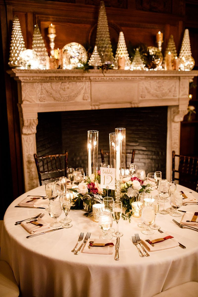 Romantic And Cozy Winter Reception Mantel With Holiday Decor And Floral Centerpieces Wi Willowdale Estate Wedding Wedding Themes Winter Winter Wedding Venues