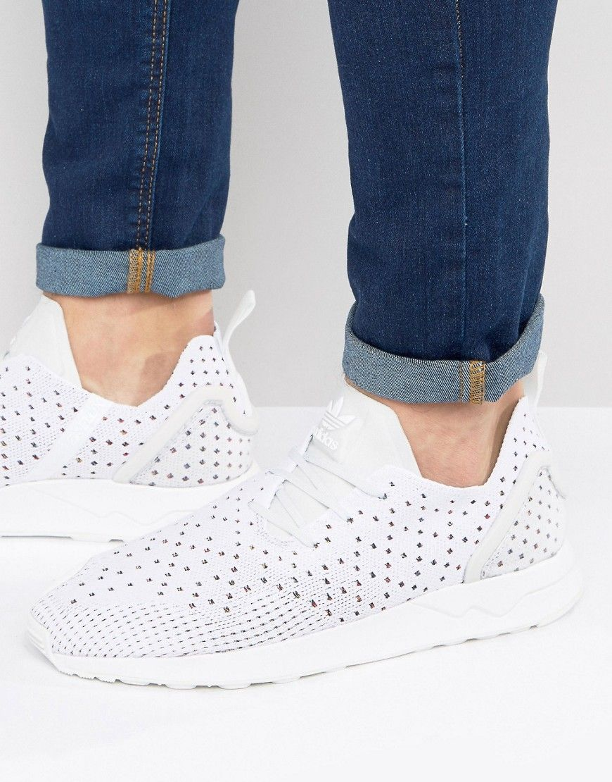 3264fb86685d6 adidas Originals Asymmetrical ZX Flux Primeknit Sneakers In White - Wh