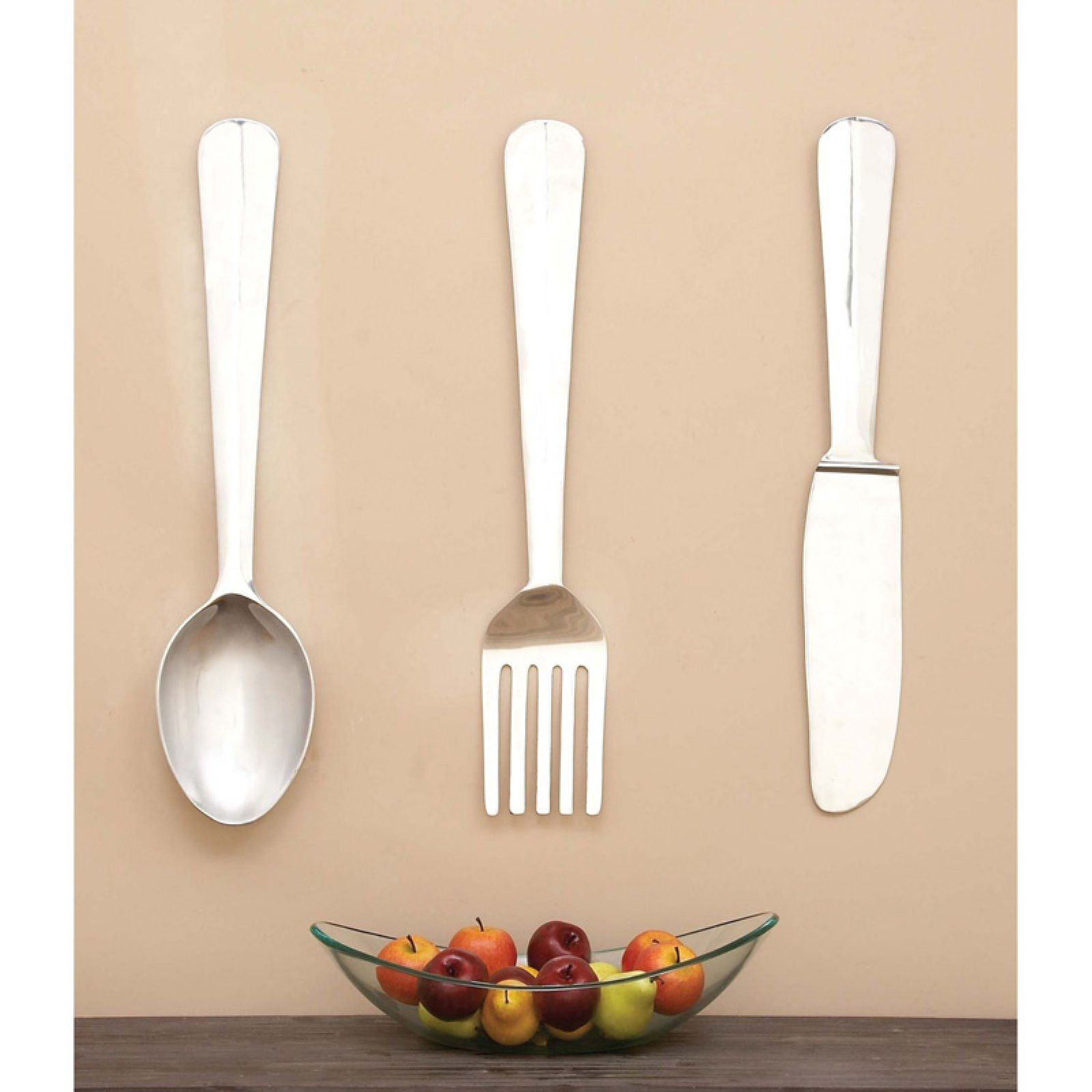 Decmode Aluminum Utensil Wall Sculpture Set Of 3 In 2020