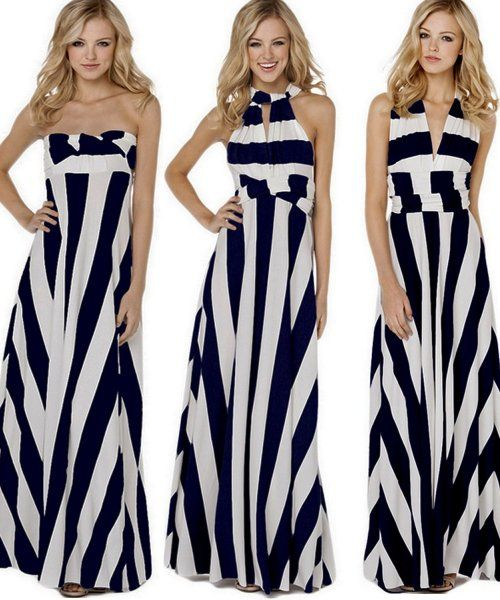 5 Cute Cheap Maxi Dresses Under  30  Cheap striped white-navy blue  convertable maxi dress by Flora Florida. A great maxi for day and night. b7379eae484f