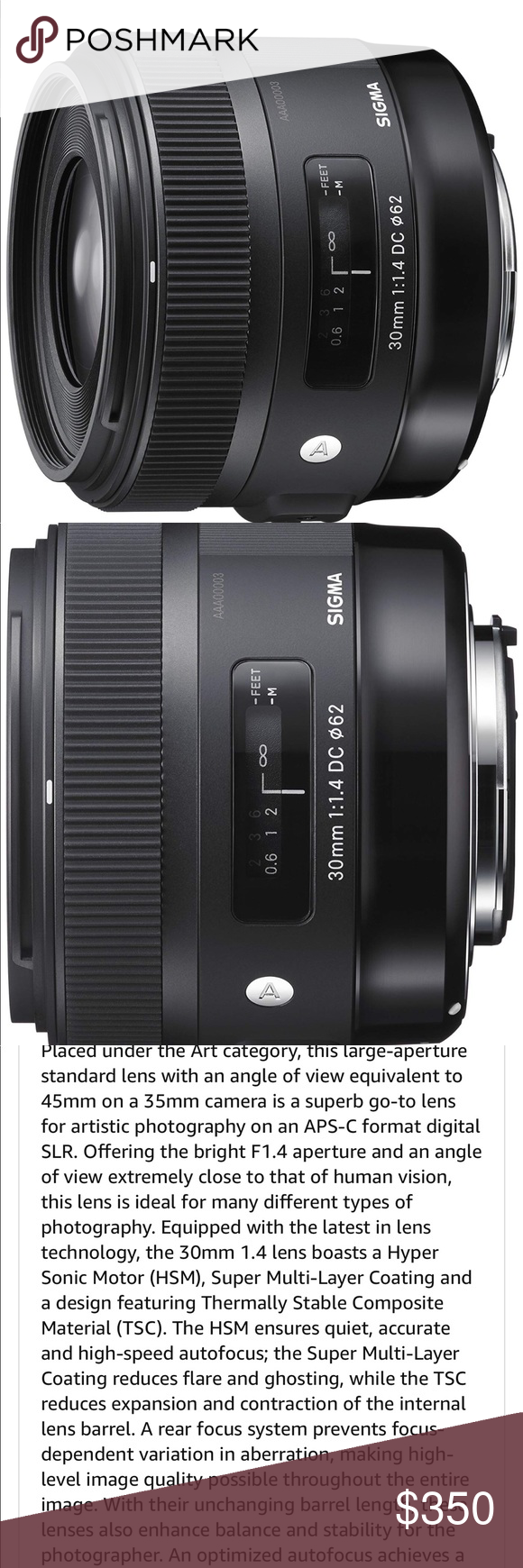 Sigma 30mm F1 4 Art Dc Hsm Lens For Canon Like New Used In Home For 3 Months Only Features Details Offering The Bright F1 4 Apertur Canon Lens Lens Sigma