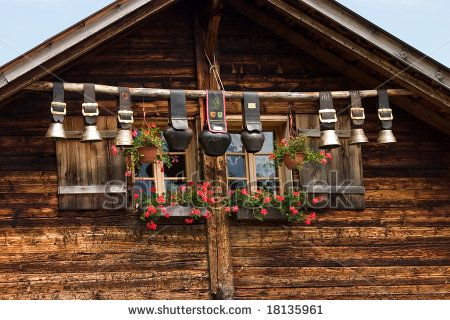 Decorative Cow Bells Under The Roof Of An Alpine Mountain Hut Switzerland Cow Bell Cow Mountain Huts
