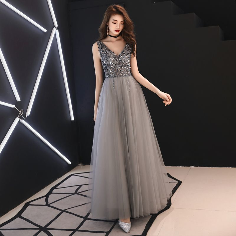 7d273f9c0f Classy Grey Evening Dresses 2019 A-Line   Princess Deep V-Neck Sleeveless  Sequins Beading Floor-Length   Long Ruffle Backless Formal Dresses