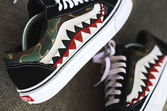 ee7b845ce1 Custom Bape Shark Camo Vans. Find this Pin and ...
