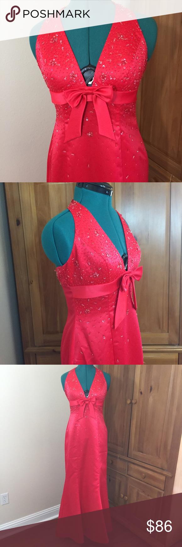 Beaded candy apple red halter prom dress my posh picks pinterest