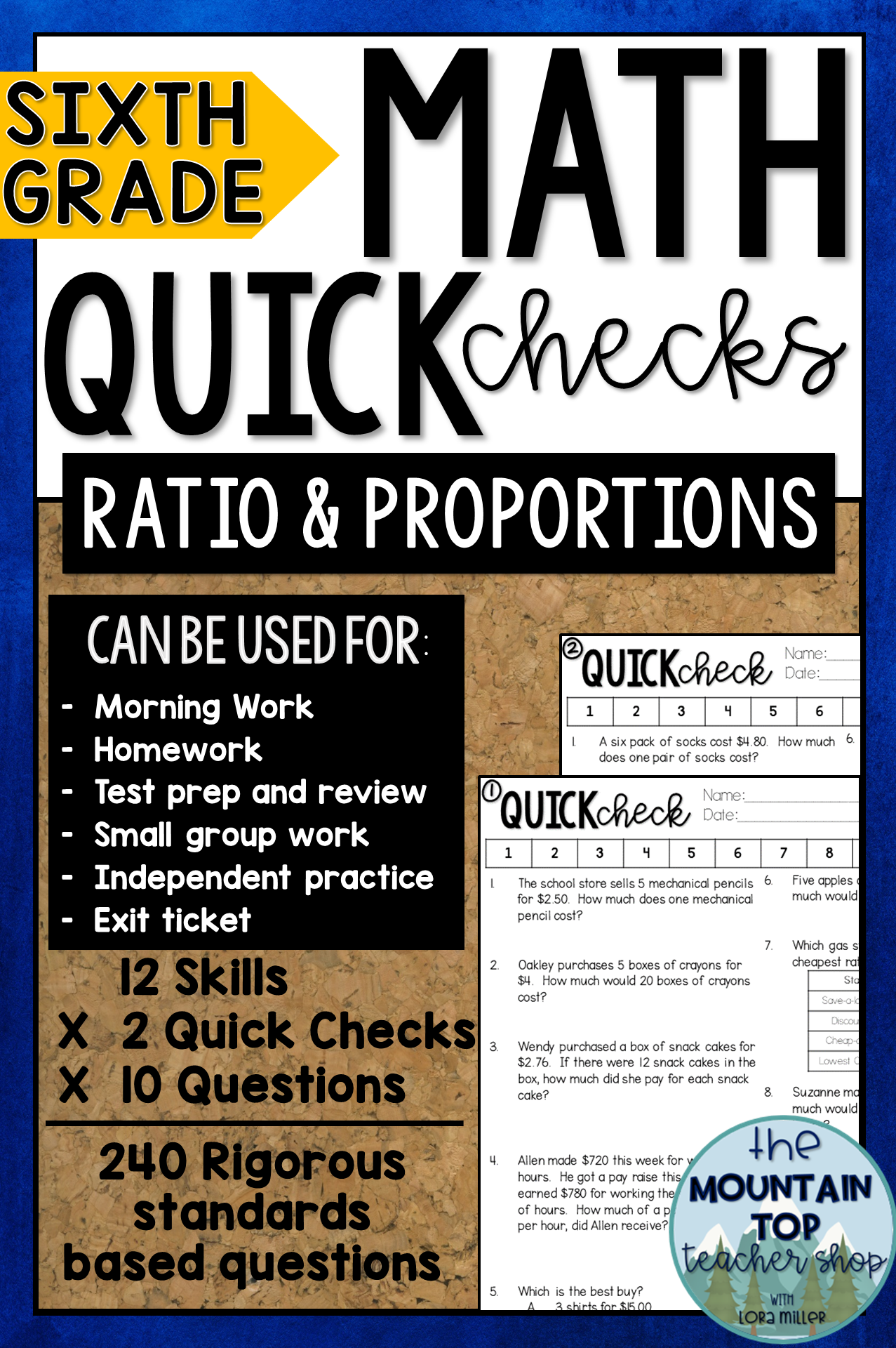 6th Grade Math Quick Checks Ratios And Proportions All Rp Standards Ratios And Proportions Math Math Review [ 1920 x 1277 Pixel ]