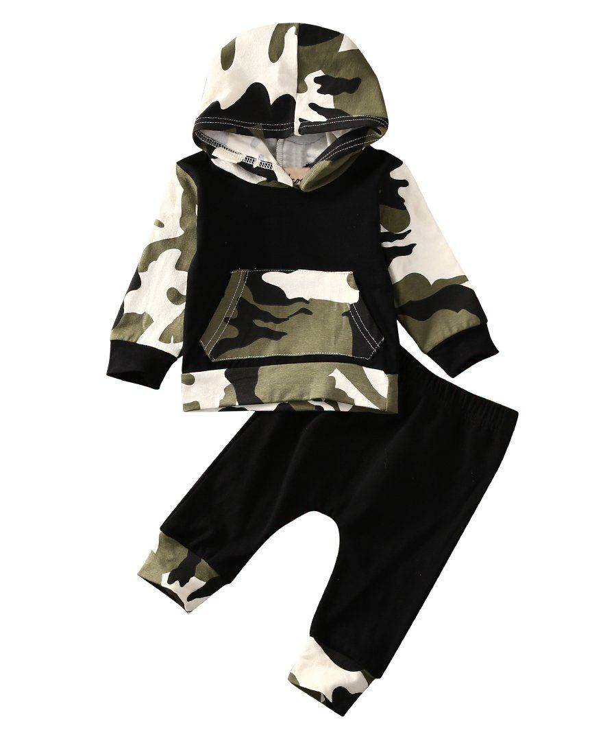 Newborn Daddys Boy Camouflage Clothes Set Infant Hoodies Top Pants Toddler Hoodie Outfit Set