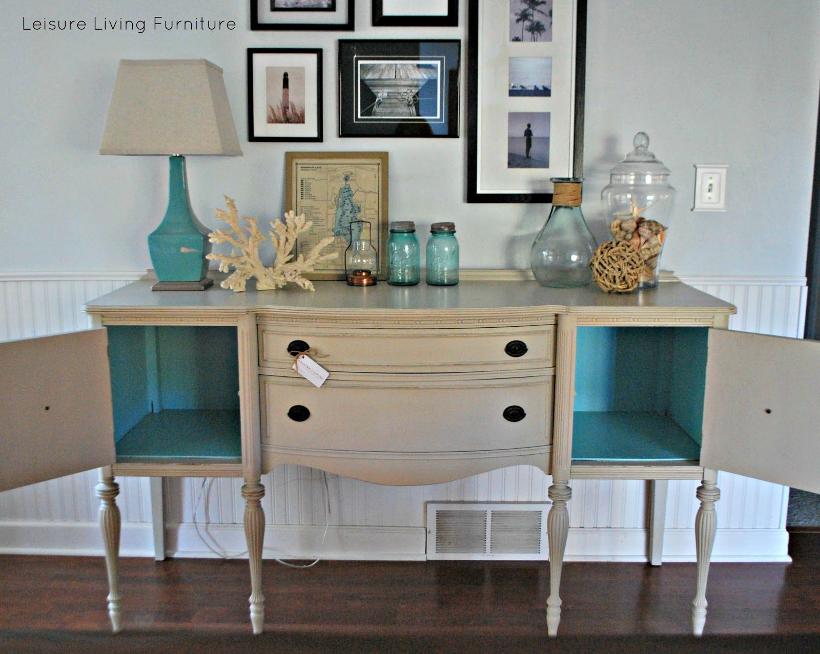 Leisure Living Custom  Buffet Annie Sloan French Linen Old - Leisure furniture