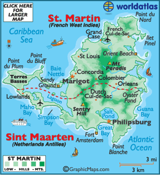 Map of Saint Martin this Caribbean island is half FrenchSt