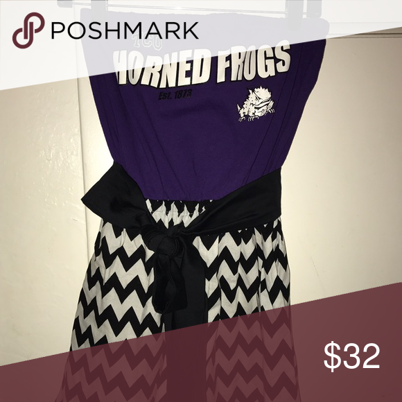 "TCU Handmade Game Day Strapless Dress This dress is 100% cotton and is made from a TCU purple shirt and a black and white cotton chevron skirt and a removable black cotton sash. The dress length is 27"" and the waist is 26"", but can stretch to 30"". There is elastic at top that is 28"". The bust is 34""-36"". Dresses Strapless"