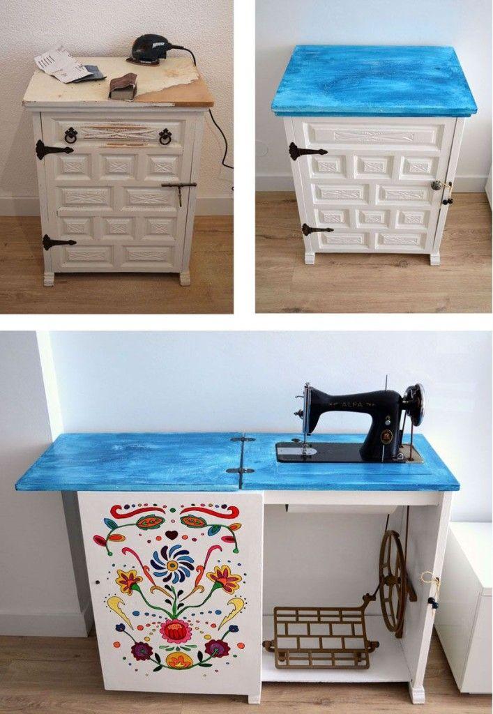 Mueble de máquina de coser antigua restaurada | Sewing