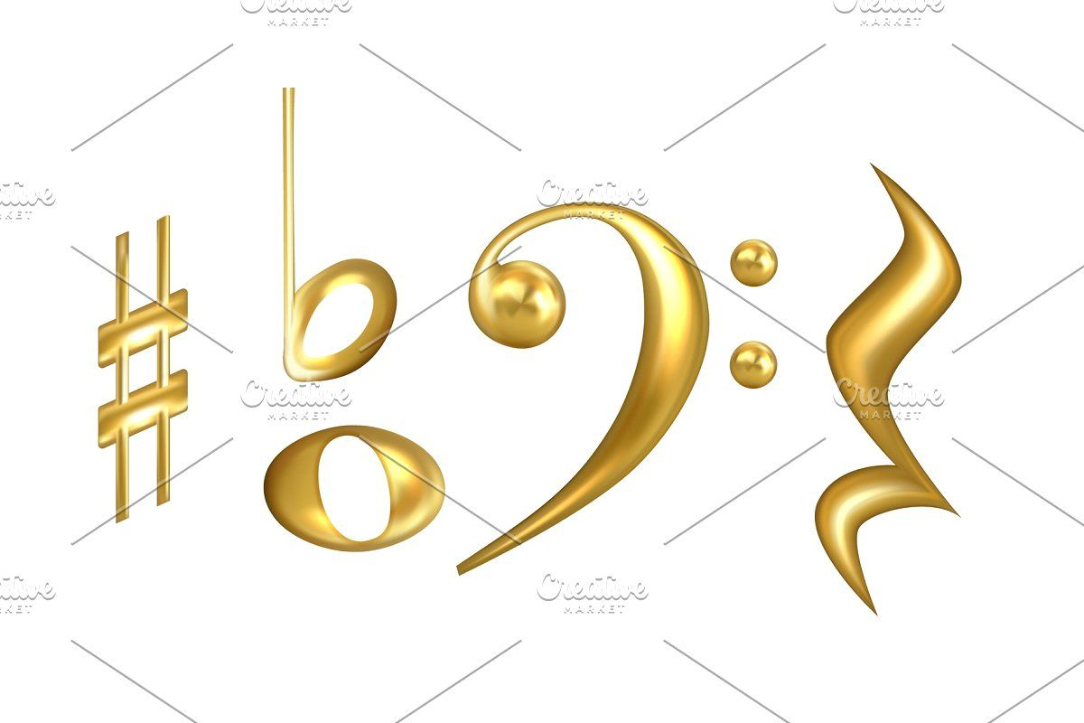 Musical Notes Symbols In Golden In 2020 Symbols Musicals Musical Note