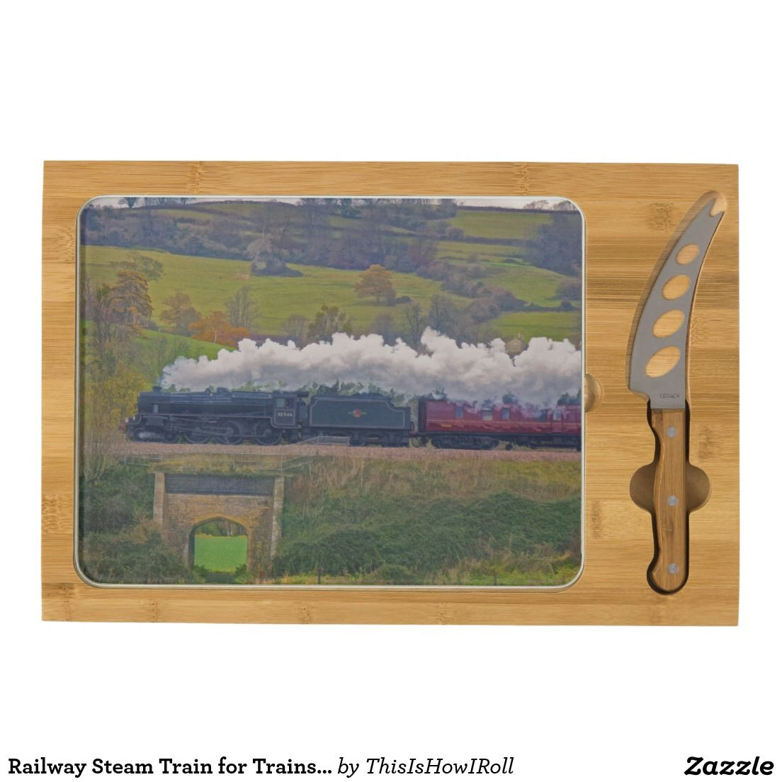 Railway Steam Train for Trainspotters Art II Cheese Board