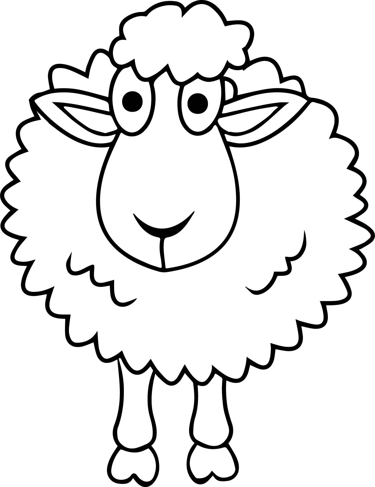 Nice Simple Sheep Coloring Page With Images Coloring Pages