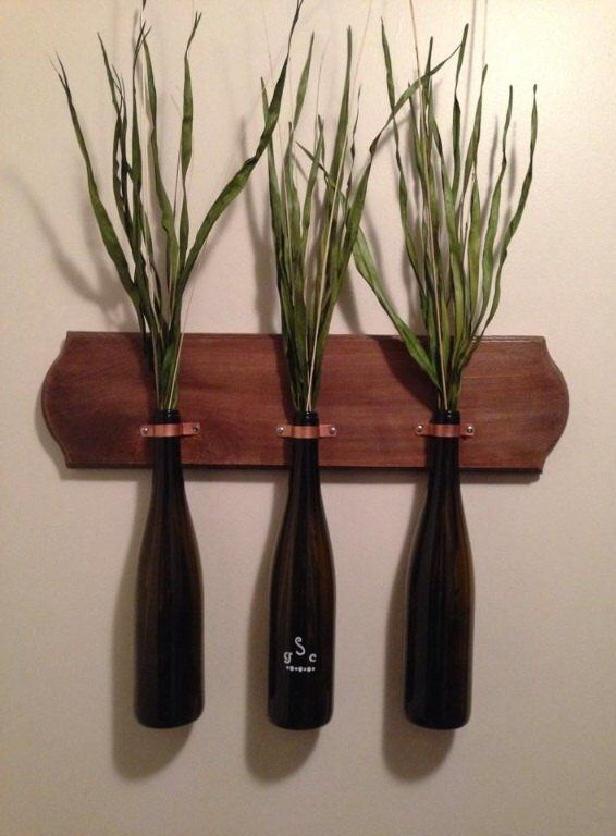 Pin for Later: 15 Inspired Ways to Decorate With Empty Wine Bottles Mounted Vases